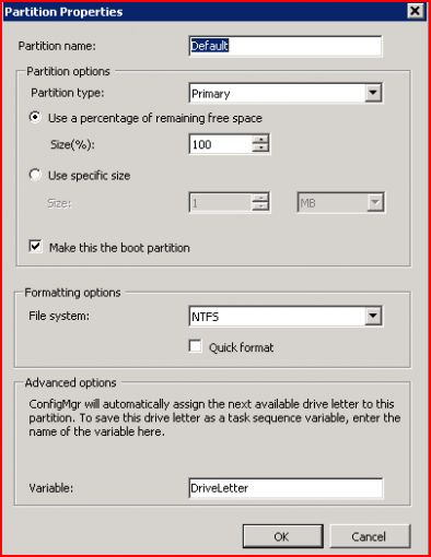 SCCM 2007: Setting the drive letter during an Operating